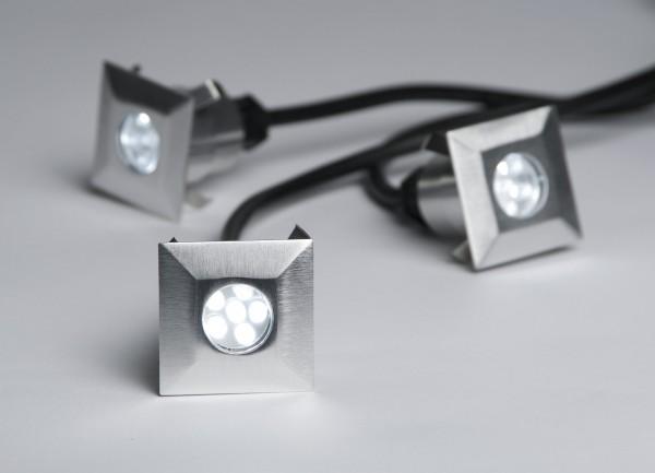 LED Boden Strahler 3er Set 12 V square - weiss