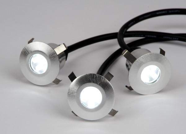 LED Boden Strahler 3er Set 12 V rund - weiss
